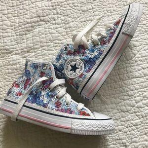 NEW Converse girls Sz 11 floral high tops